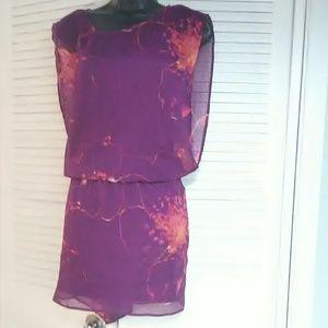 Express sz small purple floral design tunic
